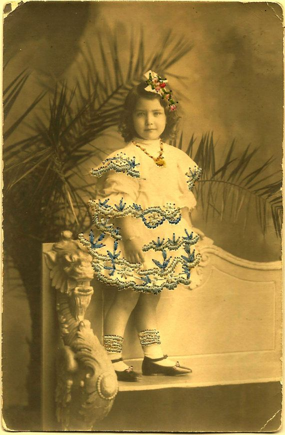 1920s Lovely Real SILK EMBROIDERED RPPC / Gorgeously Dressed Girl with Real Silk Embroidered Dress, Diadem and Socks / Societe Lumiere, Lyon