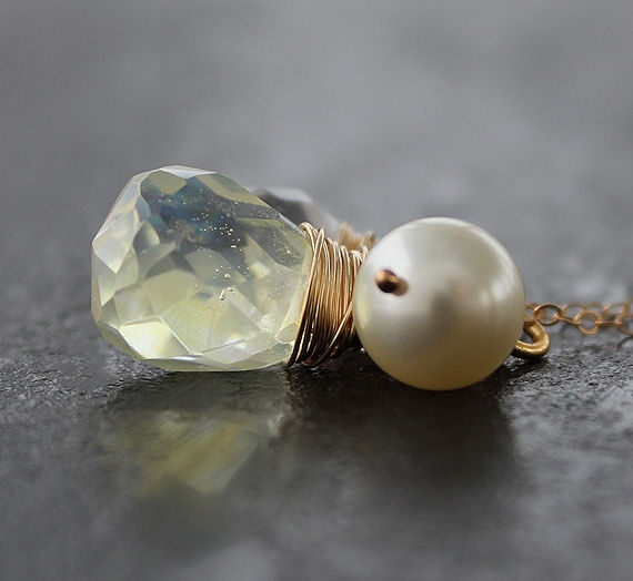 Pine Crystal, Rock Quarts and Swarovski pearl. 14K Gold filled wire.