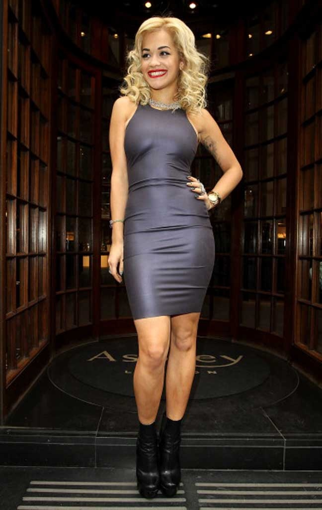 Rita Ora in Kim West latex Manhattan Dress
