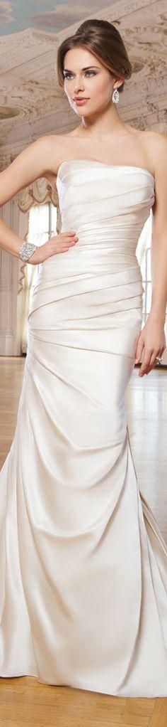 Popular Lillian West Satin mermaid wedding dress accentuated with a strapless neckline