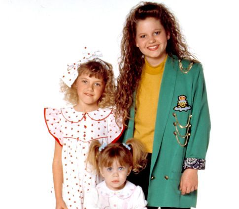 """Candace Cameron Blue, Jodie Sweetin and one of the Olsen twins: Stephanie, DJ and Michelle from """"Full House""""."""