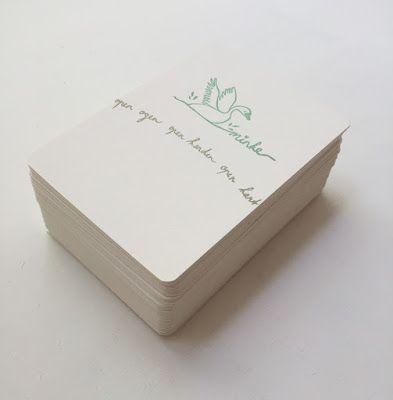 SALUT MINKE Birth Announcement card designed for Minke.   Design and hancarved stamps by SalutStefanie.