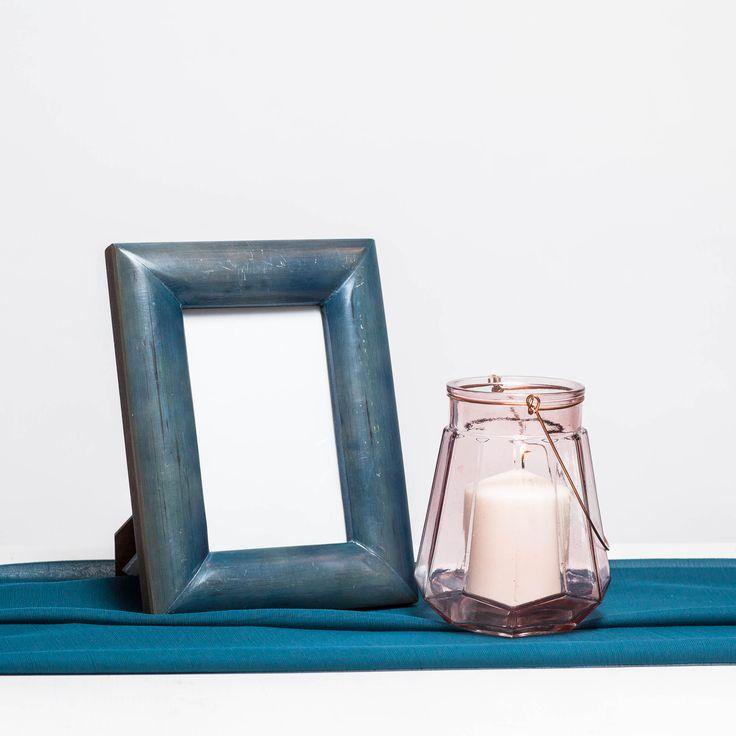 Suport de lumanari din sticla roz transparenta