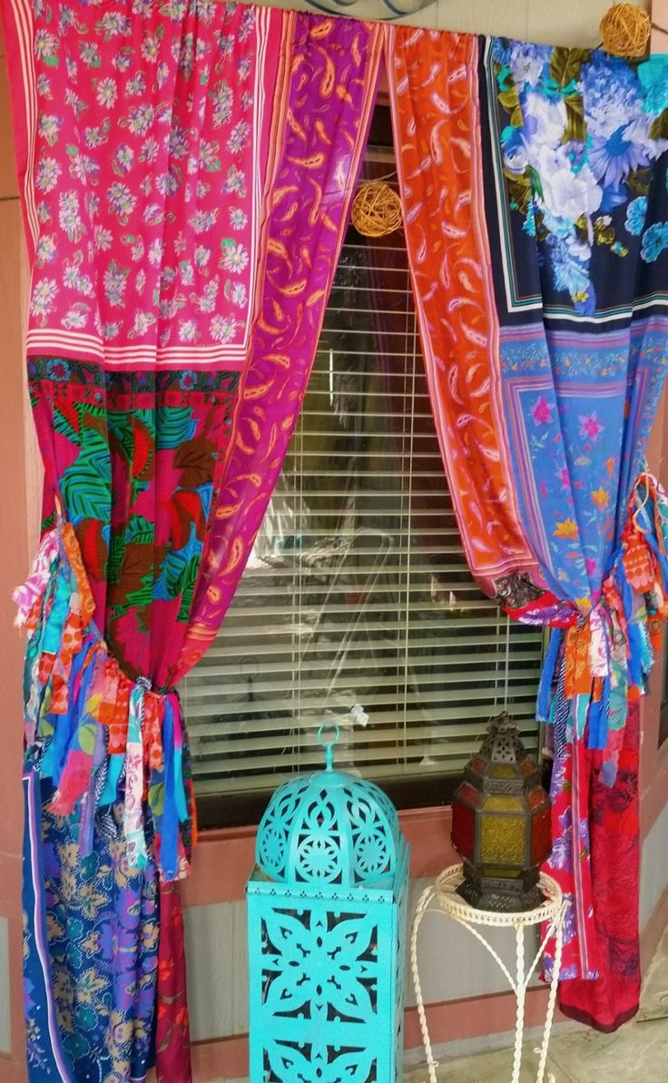 Hippy Hippie Boho Gypsy Bohemian Upcycled Vintage Scarves Scarf Curtains  Drapes Wall Decor Door Curtains Patchwork