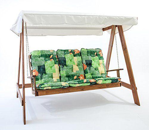 Best Ambientehome Hollywoodschaukel Sitzer Holzschaukel Schaukel Massivholz inkl Kissen VETLANDA braun