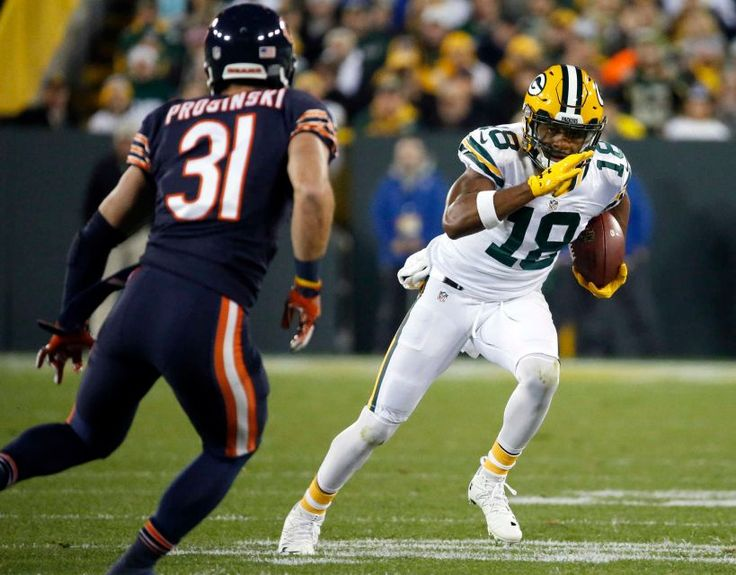 Thursday Night Football: Bears vs. Packers  -  October 20, 2016  -  26-10, Packers  - Green Bay Packers wide receiver Randall Cobb (18) runs against Chicago Bears strong safety Chris Prosinski (31) after receiving a pass during the first half of an NFL football game, Thursday, Oct. 20, 2016, in Green Bay, Wis.