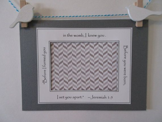 Ultrasound Frame or Mat with Bible Verse  Grey and by glorygivers