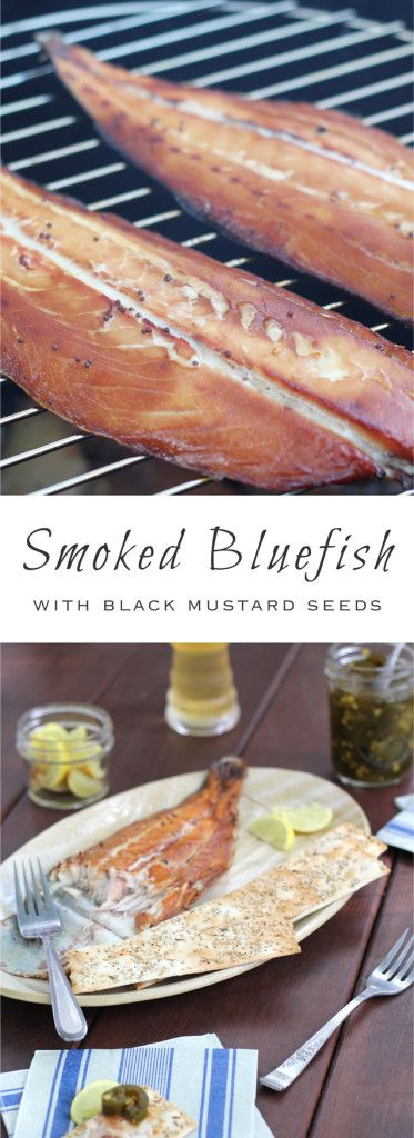 Smoked bluefish with a brine of sweet soy sauce and black mustard seeds- a perfect holiday appetizer. Delicious and sustainable!