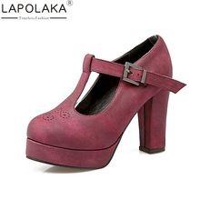 LAPOLAKA Nuevas Llegadas Estilo Británico de Las Mujeres de Gran Tamaño 34-43 Mary Janes Zapatos de Mujer Plataforma de Tacón Alto Del Partido Bombas señora Calzado(China (Mainland))