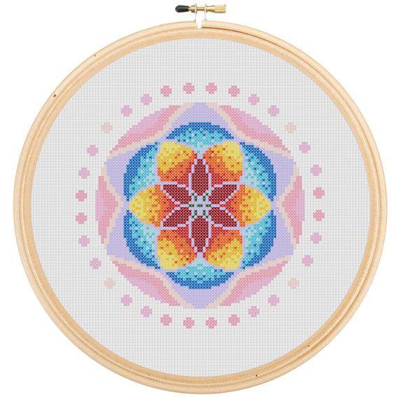 Fiery Flower Mandala Cross Stitch Pattern  Instant by LoriYarns, $3.45