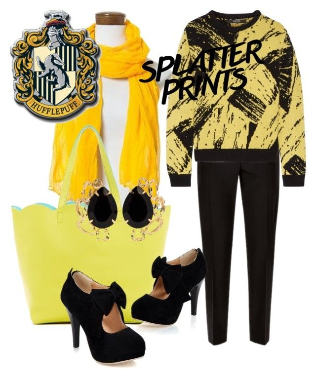 """Hufflepuff inspired look"" by hogwartsinspired on Polyvore featuring NOVICA, Deux Lux, Jaeger, Sibling and Bounkit"