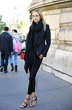 all black + oversized scarf