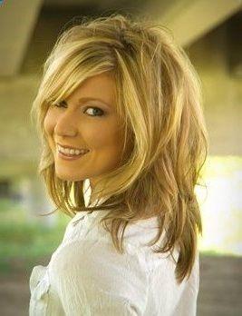 medium length layered hairstyles | part - long shag - blonde hair