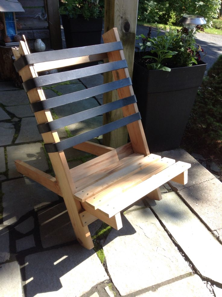 Cedar & leather folding beach chair - 2015.  Again with the leftover deck wood and belt straps from a Barcelona chair repair.