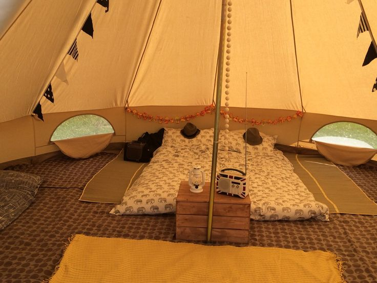 Karma Canvas bell tent yellow interior