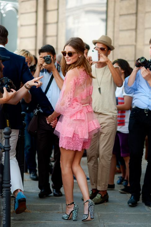 Olivia Palermo in sheer pink; street style outside the Valentino haute couture show in Paris.