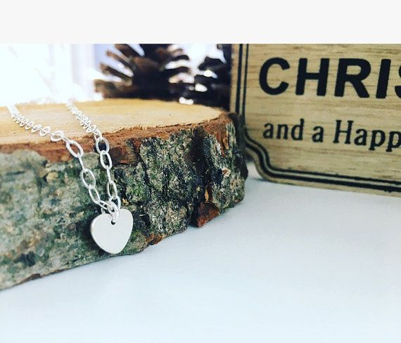 Heart necklace sterling silver heart by CharlotteFarrBridal