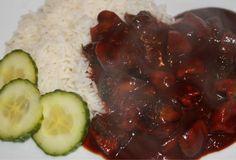 Recept voor hete kip met rijst. Ingrediënten: kipfilet champignons 80 ml ketjap manis ong 200ml water 60ml ketchup 2 flinke …