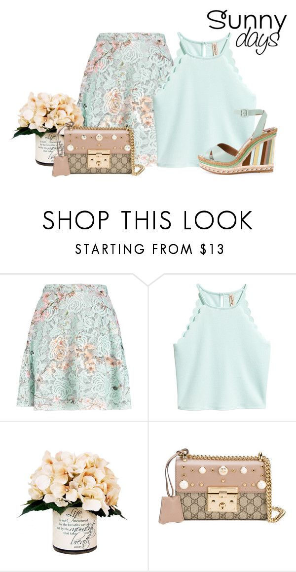 """""""minty vintage"""" by rvazquez ❤ liked on Polyvore featuring MSGM, Creative Displays, Gucci, vintage, Summer, lace, valentino, Wedge and gucci"""