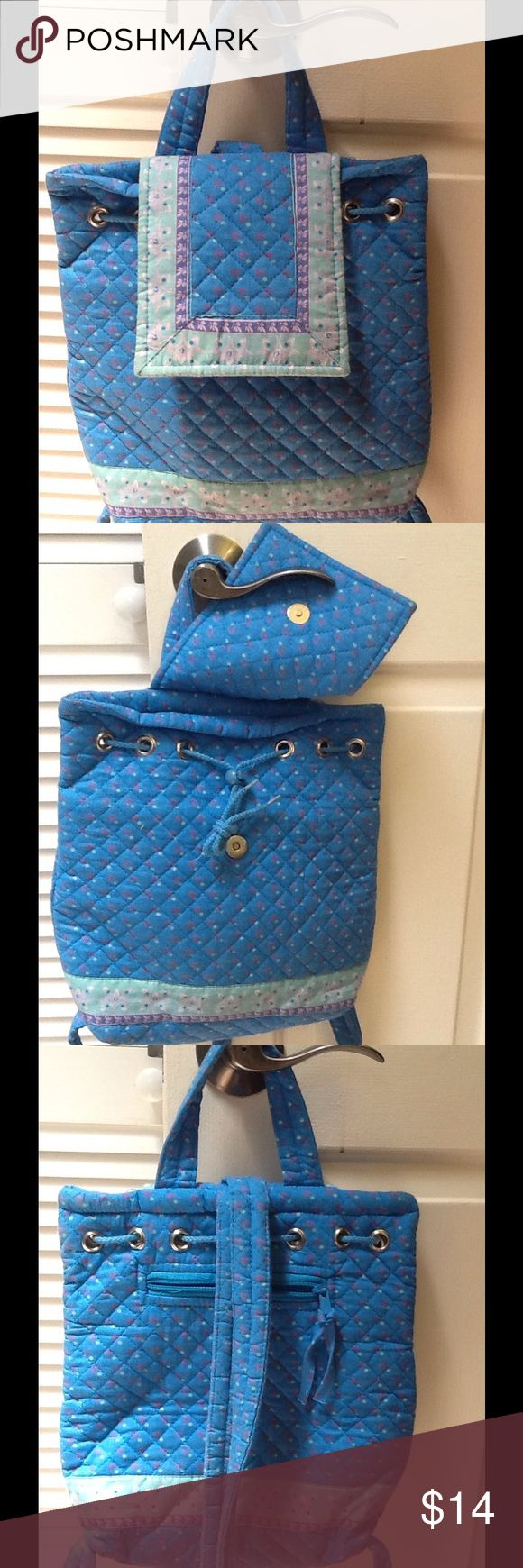 Blue quilted backpack. Blue backpack with drawstring. Vera Bradley copy cat. Has cushion divider and pockets inside. Gently used. Can be thrown in washing machine. Bags Backpacks