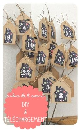 FREE printable advent calendar tags | blog Loema (download = téléchargement)