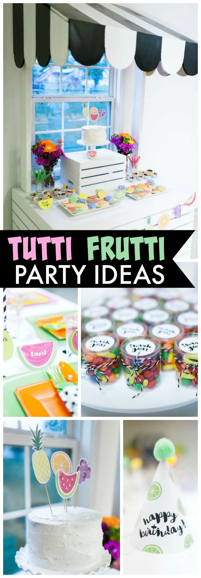 Love this tutti frutti party in bright, tropical colors with black and white accents! See more party ideas at CatchMyParty.com!