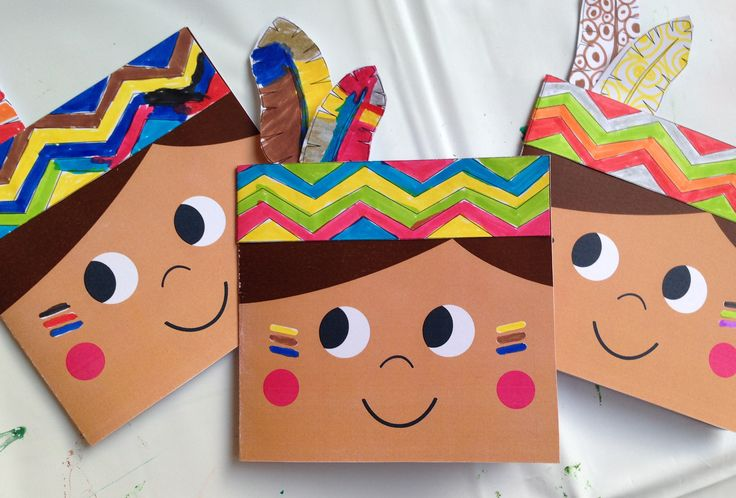 Indian arts and craft project for kids - Indianer-Einladungs-Karte…