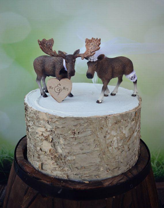 Moose-Alaska-wedding cake topper-Moose lover-Moose hunter-hunting groom-rustic cake topper-moose bride and groom