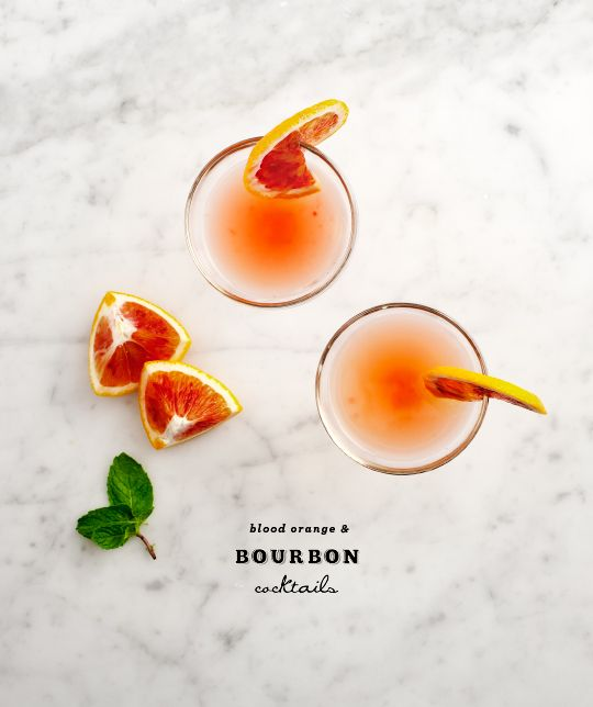 Blood orange & bourbon cocktails. Yes and yes.