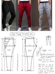 moldes de pantalones de jogging de hombre - Buscar con Google