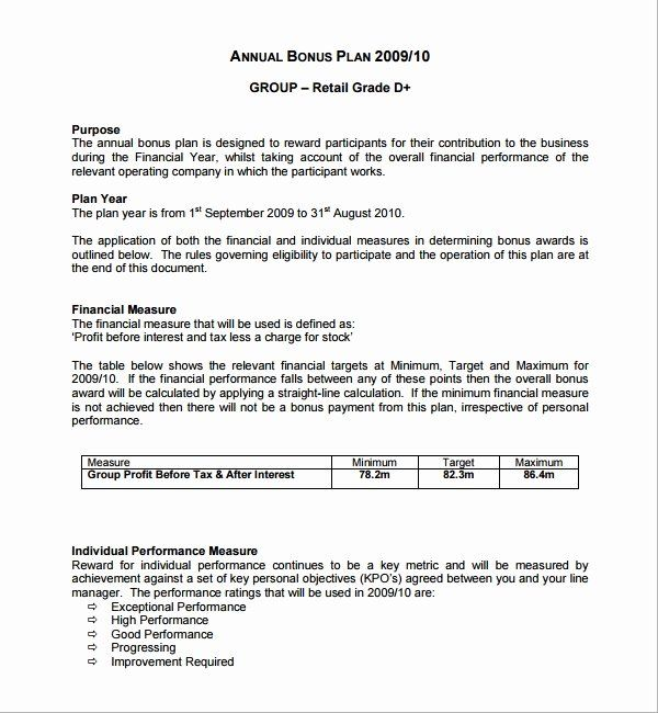 Performance Incentive Plan Template Inspirational Sample Bonus Plan Template 7 Free Documents In Pdf Free Word Document How To Plan Business Plan Template