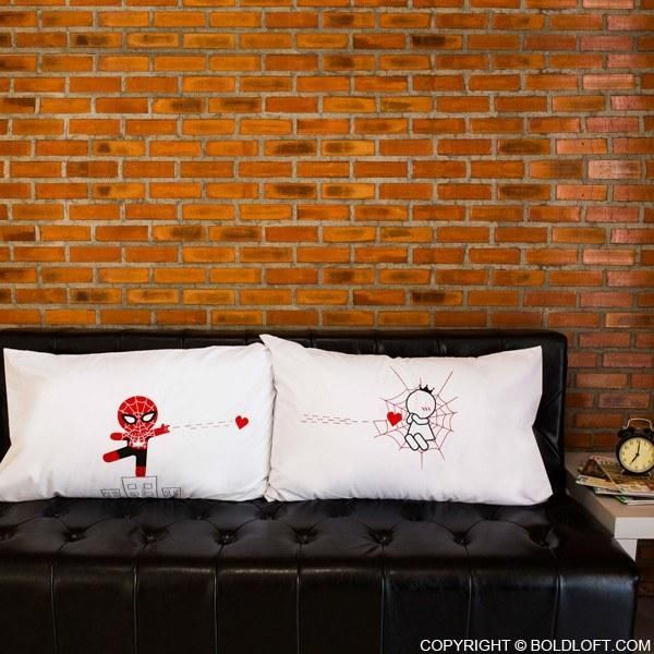 BoldLoft Captured by Your Love couple pillowcases are the perfect gifts for your superhero. Featuring a superhero in the design, these matching his and hers pillowcases cleverly let your superhero know that your are captured by his love!