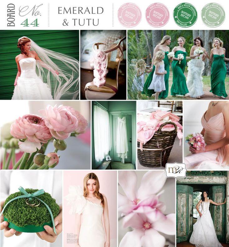 Emerald Green and Pink wedding inspiration board ~ beautiful