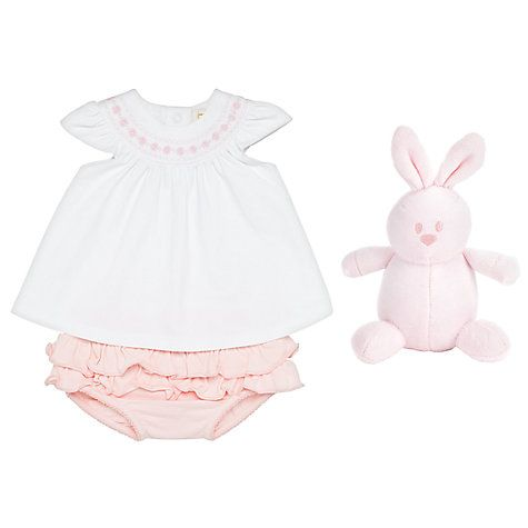 Buy Emile et Rose Baby Kate Two Piece Top and Short Set, White/Pink Online at johnlewis.com
