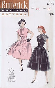 "VINTAGE DRESS SEWING PATTERN 6364 BUTTERICK 1950s SIZE 10 BUST 28 WAIST 31"" CUT 
