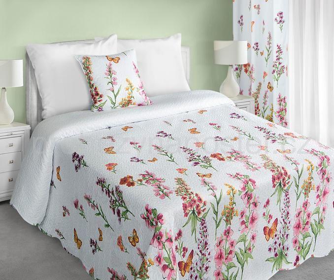 Luxusní a moderní oboustranné bílé přehozy na postel s květinovým vzorem