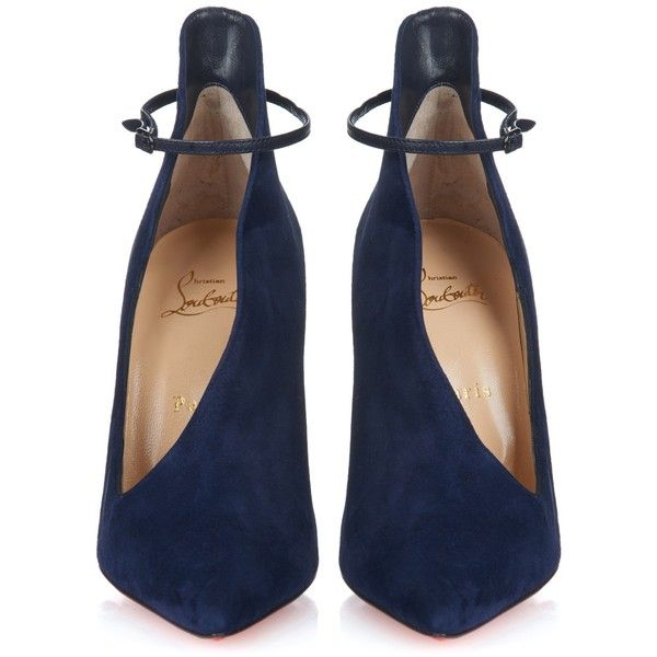 Christian Louboutin Vampydoly suede pumps (£695) ❤ liked on Polyvore featuring shoes, pumps, heels, navy blue suede pumps, christian louboutin, ankle wrap shoes, suede shoes and ankle wrap pumps