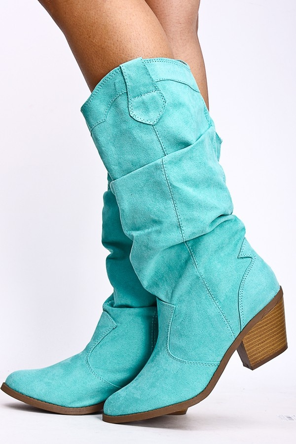 Minty Ruched Cowgirl Boots jean dress#2dayslook #alice257891 #jeansfashion ww.2dayslook.com