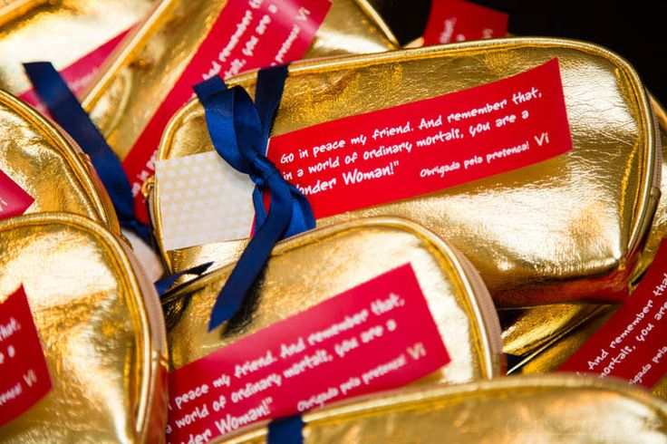 Gold purses as favors in a bridal shower.