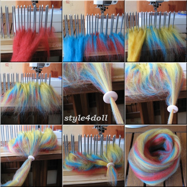 Visual of how to lightly blend fibres and make them into roving through a diz.