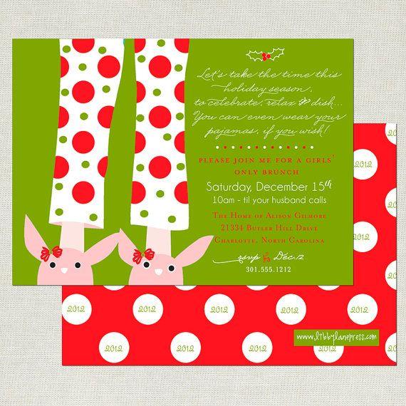 Pajama Christmas Party Ideas Part - 24: CHRISTMAS Brunch PANCAKES U0026 PAJAMAS Printable By LibbyLanePress, $16.00