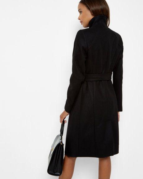 Funnel neck wrap coat - Jet | Jackets & Coats | Ted Baker UK