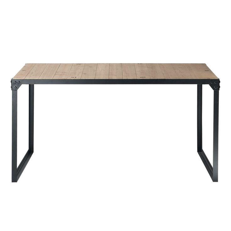 Table de salle à manger indus en bois et métal L 140 cm