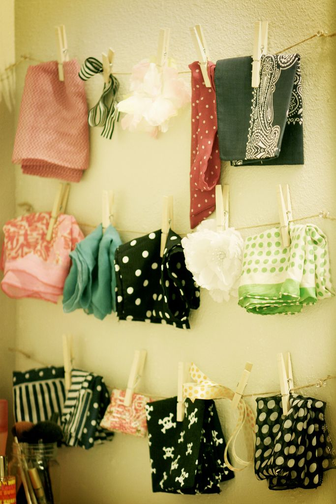 A fun way to display scarves!