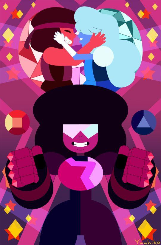 Garnet,ruby and sapphire. Steven universe
