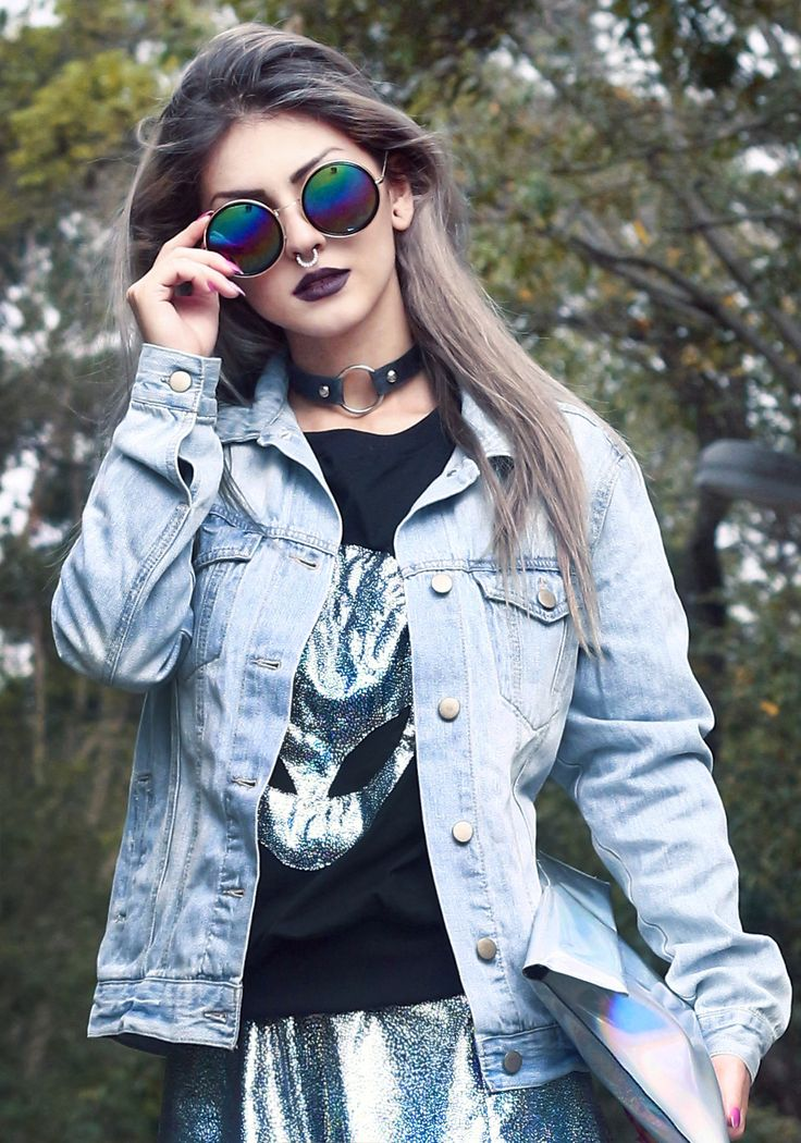 Holographic outfit: Blouse and Skirt: ETHUS, Clutch & Socks: CHOIES, Jacket: Forever 21, Tennis: Adidas Originals, Glasses: Romwe - http://ninjacosmico.com/29-grunge-outfit-ideas-fall/