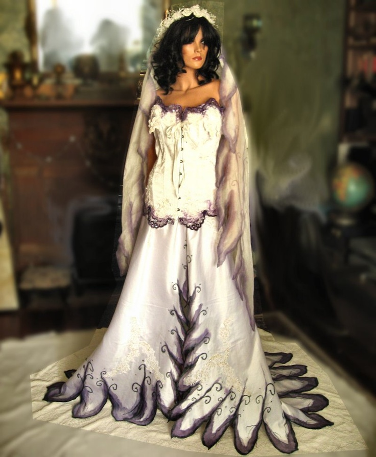 Custom hand painted gothic wedding gown via etsy for Corpse bride wedding dress for sale