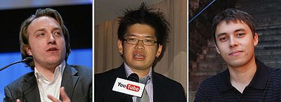 From left to right: Chad Hurley, Steve Chen, and Jawed Karim. https://en.wikipedia.org/wiki/YouTube   ((youtube founders))