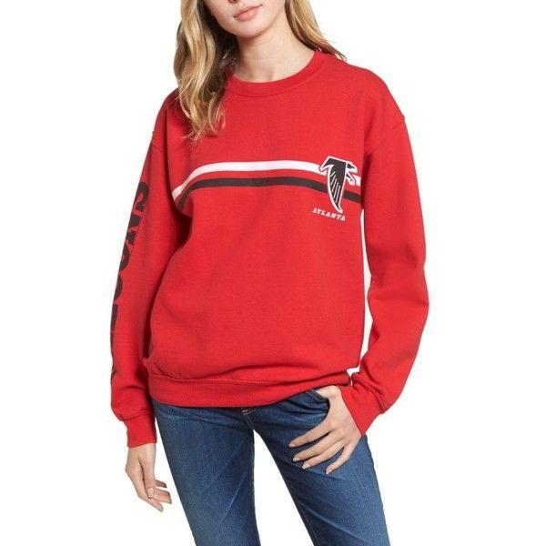 Women's Junk Food Retro Nfl Team Sweatshirt (€63) ❤ liked on Polyvore featuring tops, hoodies, sweatshirts, falcons, red top, nfl sweatshirts, retro sweatshirts, red sweatshirt and nfl top