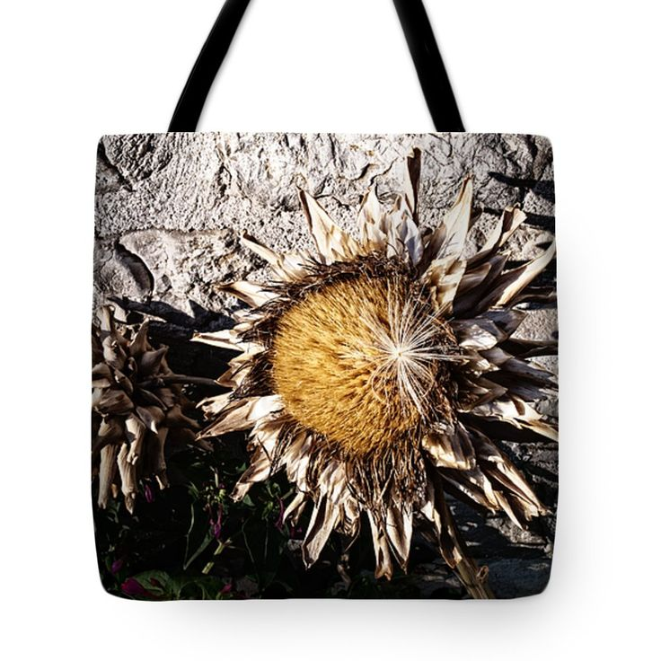 """Dry Sunflower Tote Bag 18"""" x 18"""" by Lucie Rovna"""